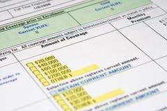 保险生活文书工作 免版税库存图片