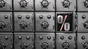 保险箱开放百分之 库存图片