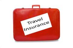 保险红色手提箱旅行 免版税库存照片
