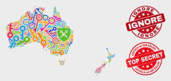 保障澳大利亚拼贴画和新西兰地图和抓忽略邮票 向量例证