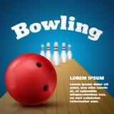 保龄球与红色球和九柱游戏用的小柱的俱乐部海报 向量 免版税图库摄影