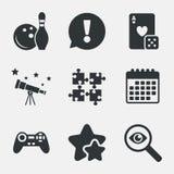 保龄球和赌博娱乐场标志 电子游戏控制杆 免版税库存照片