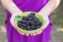 滚保龄球用莓果在一个小女孩的手上 免版税库存照片