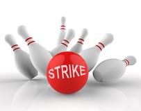 滚保龄球的罢工显示十Pin和活动3d翻译 免版税图库摄影