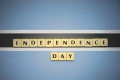 信件与文本在博茨瓦纳的国旗的独立日 库存照片