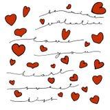 信件和心脏,爱心情 免版税库存图片
