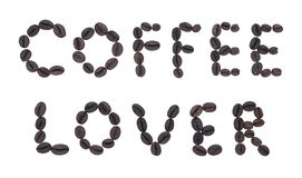 信件由组成油煎的咖啡咖啡恋人 免版税库存图片