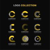 信件C商标与黄色和灰色的汇集模板 向量例证