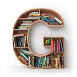 信件G 以架子的形式字母表与书 图库摄影