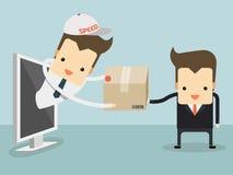 信使送了顾客的项目网上购物概念的 免版税库存图片