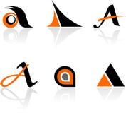 信函A图标的收集 库存例证