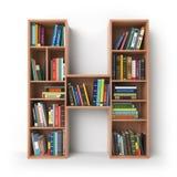 信函H 以架子的形式字母表与被隔绝的书  库存照片