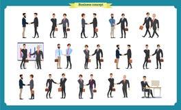信号交换人s 商人配合,套商人用不同的姿势,身分,胳膊横渡了,握手 免版税库存图片