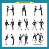 信号交换人s 商人配合,套商人用不同的姿势,身分,胳膊横渡了,握手 库存图片