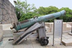 信号枪或中午标志在大阪城堡 免版税库存图片