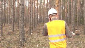 信号背心的年轻白种人男性审查员谈话在电话反对森林产业,拷贝的背景 影视素材