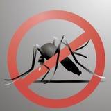信号,与蚊子警告的蚊子,禁止了标志 免版税库存照片
