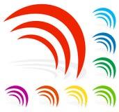 信号,辐射,放射,在8颜色的波形 库存例证