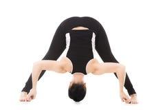 信奉瑜伽者女性锻炼,瑜伽asana宽有腿的向前弯 免版税图库摄影