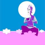 信奉瑜伽者妇女,有被阐明的月亮头脑的 免版税库存照片
