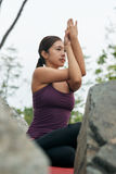 信奉瑜伽者实践的瑜伽姿势 免版税库存照片