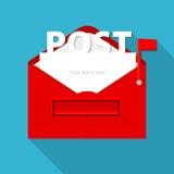 信封传染媒介在邮箱形状的 平的设计 免版税库存图片