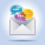 信封信件和讲话泡影 免版税库存图片