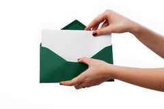 信封和卡片您的文本的 库存照片