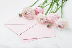 信封或信件、纸牌和桃红色毛茛属在招呼的白色桌上开花在母亲或妇女天 库存图片