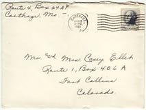 1963年信封被取消的邮费信件 免版税库存图片