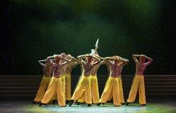信徒中国民间舞爱好者方法 免版税库存照片