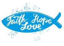 信念,希望,爱在心脏的背景的行情,基督教手拉的传染媒介的书法文本标志 库存例证