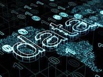 信息技术概念:关于数字式世界地图背景的词数据 库存图片