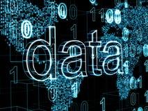 信息技术概念:关于数字式世界地图背景的词数据 免版税库存照片