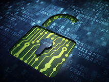 信息概念:在数字式被打开的挂锁 免版税图库摄影