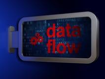 信息概念:数据流和齿轮在广告牌背景 免版税库存照片