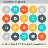 信息象集合 多彩多姿的平的按钮 库存例证