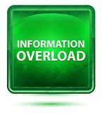 信息超载霓虹浅绿色的方形的按钮 皇族释放例证