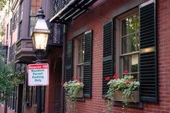 信标岗是联邦式rowhouses一个富裕的邻里,与某些最高的特性值在美国 库存图片