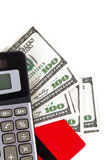信用卡、美金和计算器 库存照片