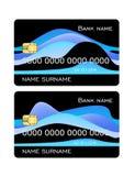 信用卡与被设置的蓝色波浪的模板黑色 前方模板 向量例证