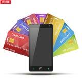 信用卡和手机 也corel凹道例证向量 库存照片