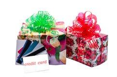 信用卡和礼物 图库摄影