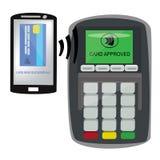 信用卡机器和制造付款由电话 免版税库存图片