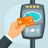 信用卡nfc公共汽车旅行概念背景,平的样式 向量例证