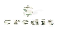 信用和美元的符号的词 库存图片