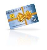 信用或转账卡设计与黄色丝带和弓 免版税库存图片