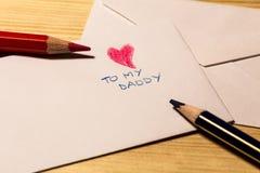 信件为父亲节 免版税库存图片