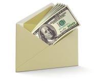 信件和美元(包括的裁减路线) 库存照片
