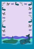 信件形式鲸鱼和潜水艇 免版税库存图片
